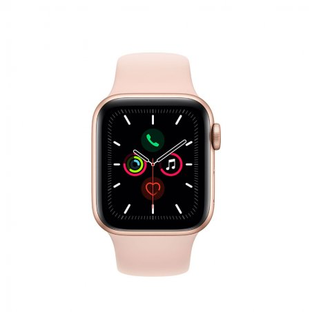 Apple Watch serie 5. Boîtier en aluminium or - Bracelet Sport Roses des sables de face