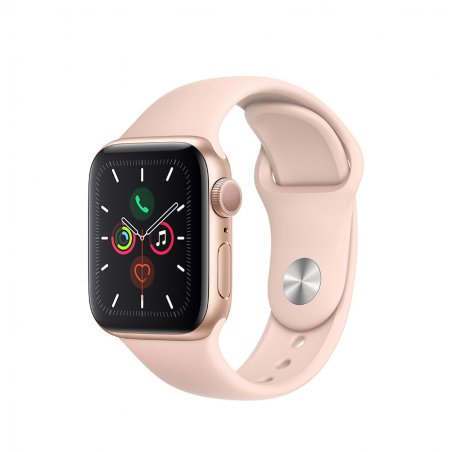 Apple Watch serie 5. Boîtier en aluminium or - Bracelet Sport Roses des sables version GPS