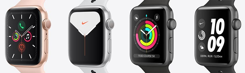 Comparaison des montre Apple Watch series 5, series 3 et Nike