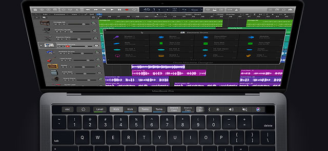 illustration de l'app Logic Pro X àl'écran du MacBook Pro