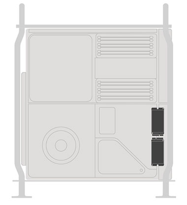 Dessin du Mac Pro - emplacement stockage SSD