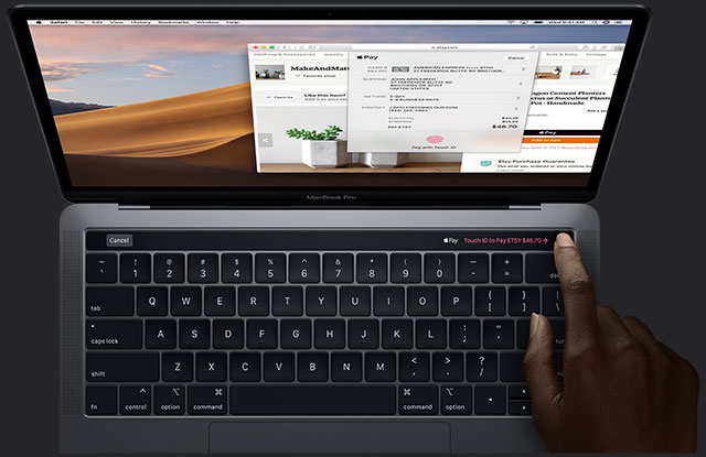 fonctionnement de la touch bar